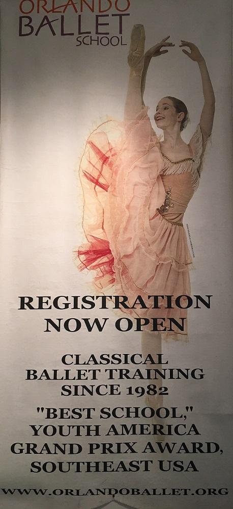 Orlando Ballet School South Campus registration poster at 7988 Via Dellagio Way, Suite 204., Orlando, FL final