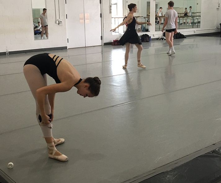 Orlando Ballet School-students of OBS getting ready prep knee final