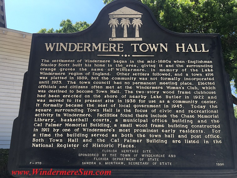 Art Show of Windermere Prep School 2016-sign of Windermere Town Hall final
