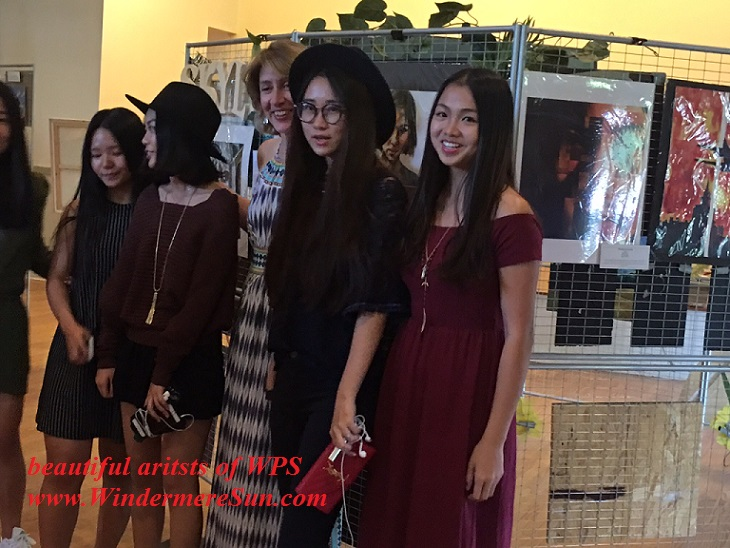 Art Show of Windermere Prep School- student artist  Yiyu Celeste Lin (R) and friends final