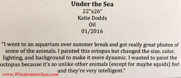 Art Show of Winderpere Prep School 2016-beautiful art works of Katie Dodds Under The Sea sign final