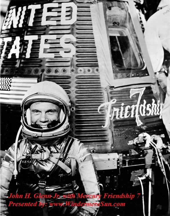 John H. Glenn Jr. with Mercury Friendship 7 final