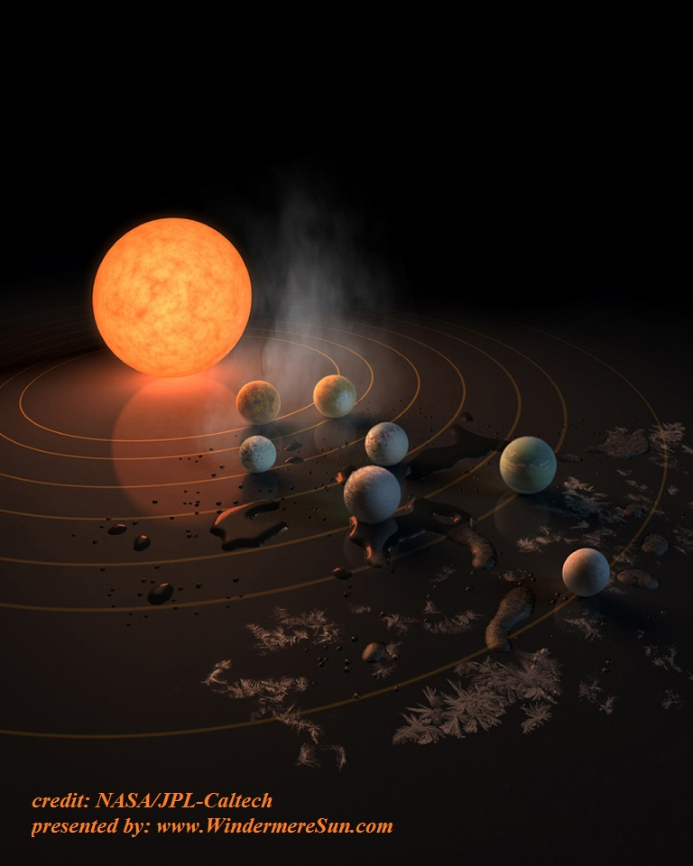 The TRAPPIST-1 star, an ultra-cool dwarf, has seven Earth-size planets orbiting it. This artist's concept appeared on the cover of the journal Nature on Feb. 23, 2017 credit NASA JPL Caltech final