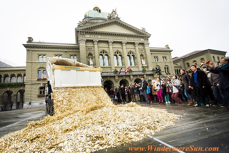 Basic Income, 4 October 2013, Swiss activists from Generation Grundeinkommen, eight millions of valid Swiss 5-cent coins (one per inhabitant) were dumped on a the Bundesplatz final