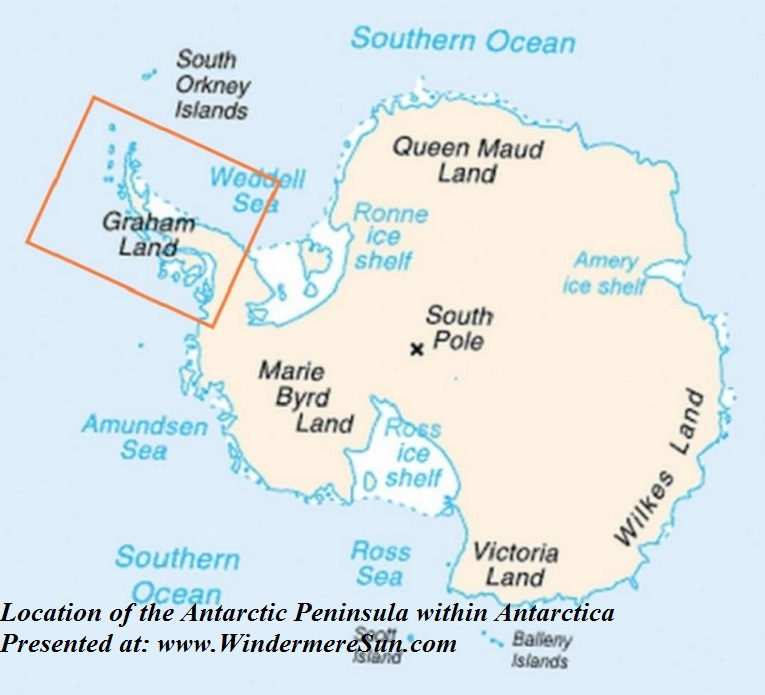 Location of the Antarctic Peninsula within Antarctica,Antarctica_map_indicating_Antarctic_Peninsula, PD final