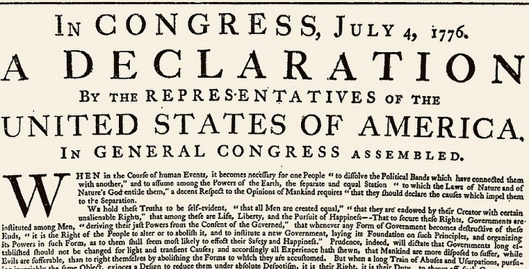 US-original-Declaration-1776,The opening of the original printing of the Declaration, printed on July 4, 1776 under Jefferson's supervision final