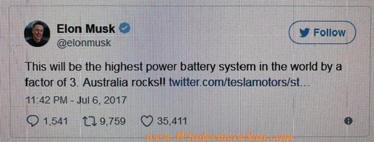 Elon Musk's tweet about South Australia final