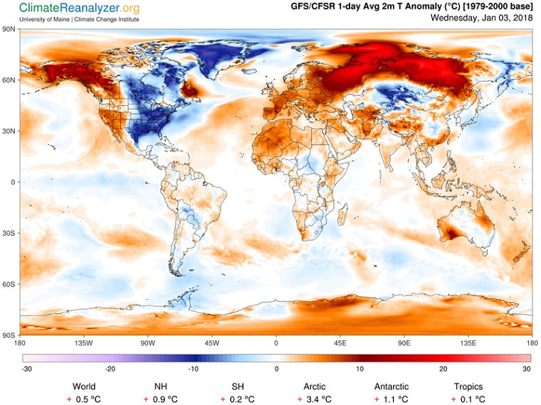 Jan. 2018, USA and Canada are now the most unusually cold places on earth right now, Climate Change Institute,gfs_world_ced_t2anom_1_day__2 final_