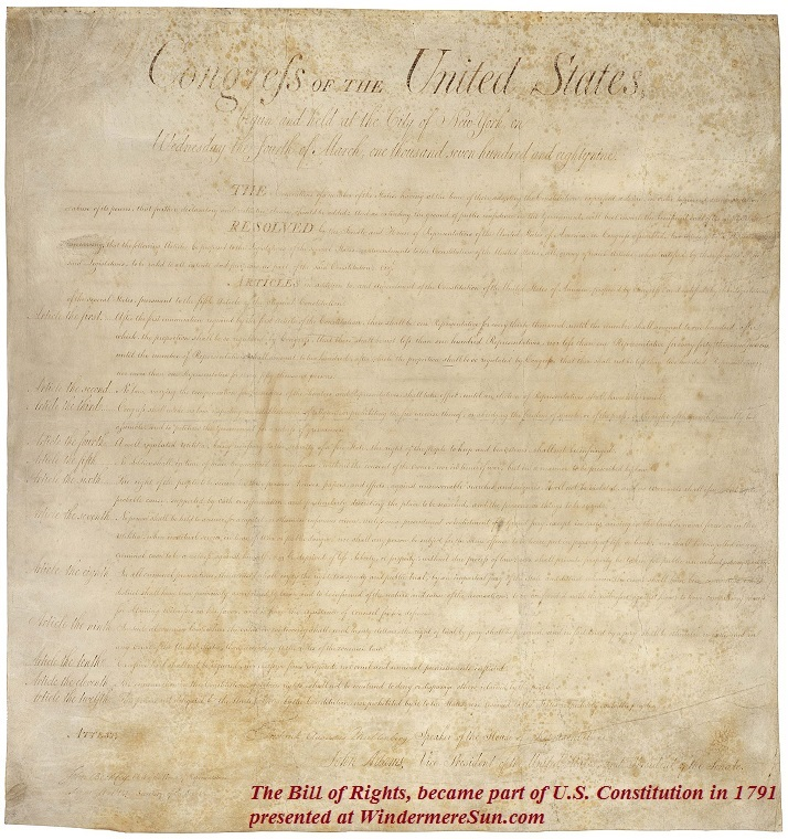Bill_of_Rights_Pg1of1_AC, The Bill of Rights, proposed in 1789, Articles three through twelve, became part of the United States Constitution final