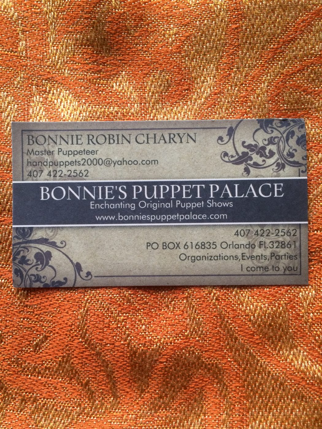 Bonnie's Puppet Palace Business Card
