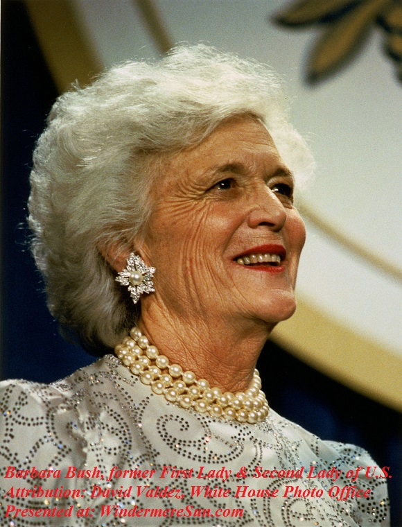 Barbara_Bush_portrait, attribution-David Valdez, White House Photo Office, PD, 1989 final