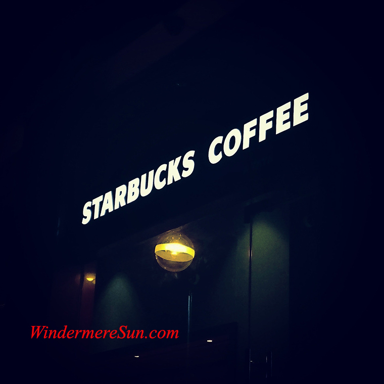 Starbucks coffee sign at night final