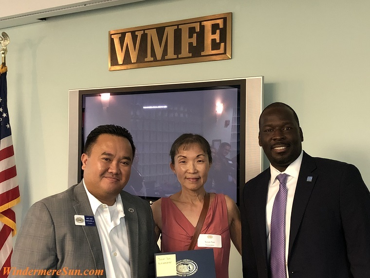 AACC President Jose Fabricante Jr. (L), Founder of Windermere Sun-Susan Sun Nunamaker (M), President and General Manager of WMFE90.7 LaFontaine E. Oliver at WMFE final