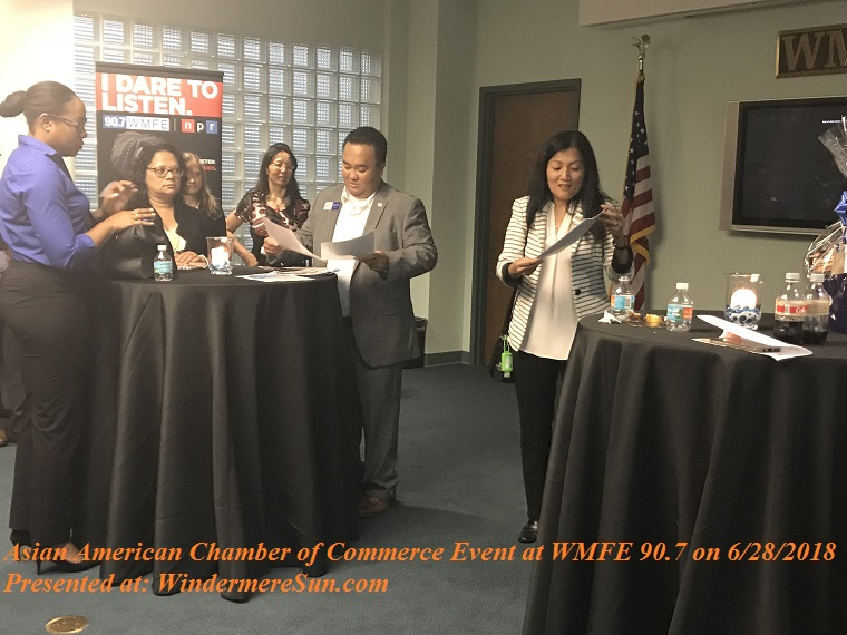Asian American Chamber of Commerce Event at WMFE 90.7 on June 28, 2018, with Vi Ma presenting final