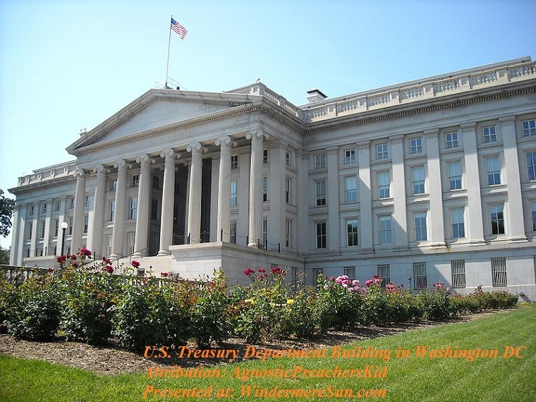 Treasury_Department_rear_view,Rear view of the Treasury Department building in Washington, D.C. The building is a National Historic Landmark, attribution-AgnosticPreachersKid final