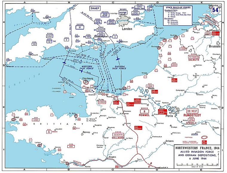 WWII, D-Day, Allied invasion plans and German positions in Normandy final
