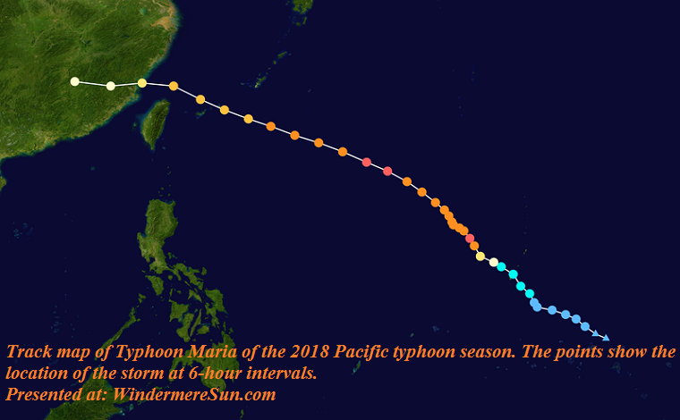 Track map of Typhoon Maria of the 2018 Pacific typhoon season. The points show the location of the storm at 6-hour intervals final