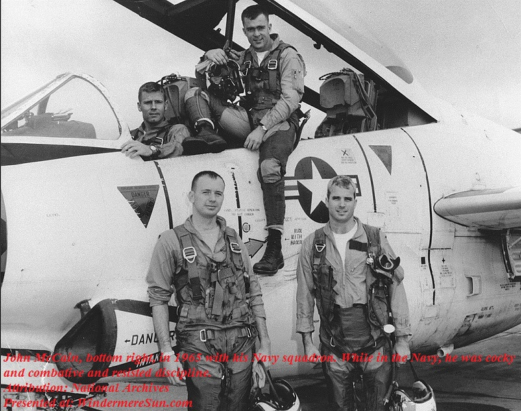 John McCain, bottom right, in 1965 with his Navy squadron. While in the Navy, he was cocky and combative and resisted discipline.CreditNational Archives final