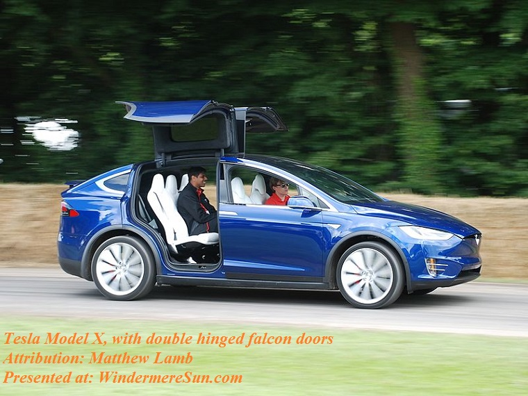 Tesla Model X, with double hinged falcon doors, attribution-Matthew Lamb final