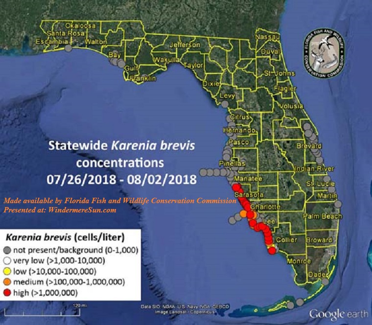 red tides-K. Brevis organism concentration map of FL 2018 final