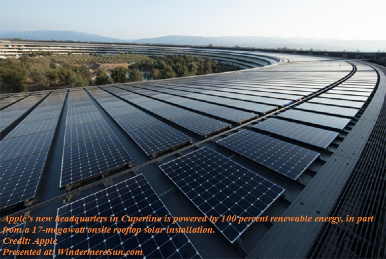 Apple, renewable_energy_apple_ap_solar_panels, Apple's new headquarters in Cupertino is powered by 100 percent renewable energy, in part from a 17-megawatt onsite rooftop solar installation final