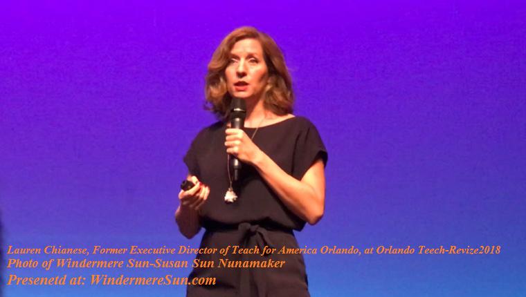 Lauren Chianese, former executive director of Teach for America Orlando, at Orlando Tech-Revize2018 final