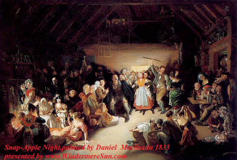 Snap-Apple Night, painted by Irish artist Daniel Maclise in 1833. It was inspired by a Halloween party he attended in Blarney, Ireland, in 1833 final.
