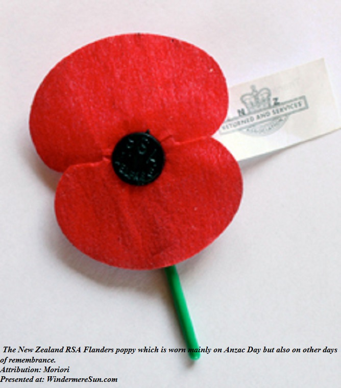 poppy, The New Zealand RSA Flanders poppy which is worn mainly on Anzac Day but also on other days of remembrance, attribution-Moriori final
