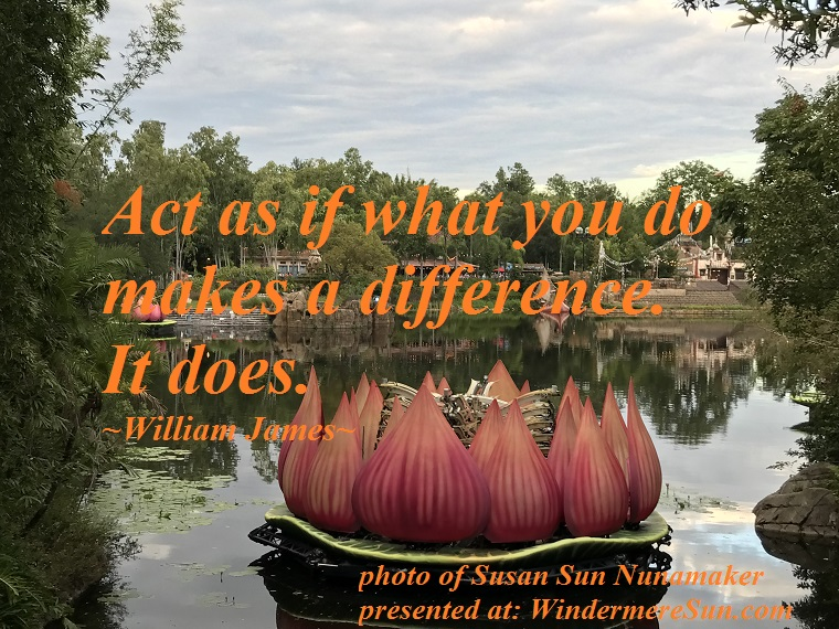quote of 11-17-2018, acts as if what you do makes a difference, quote of William James final