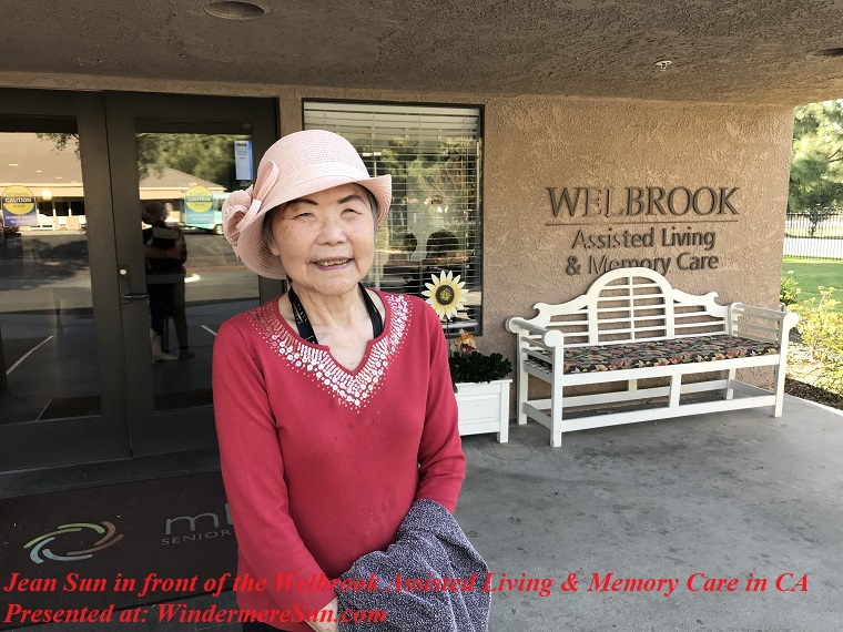 Jean Sun in front of the Welbrook Assisted Living and Memory Care in CA final