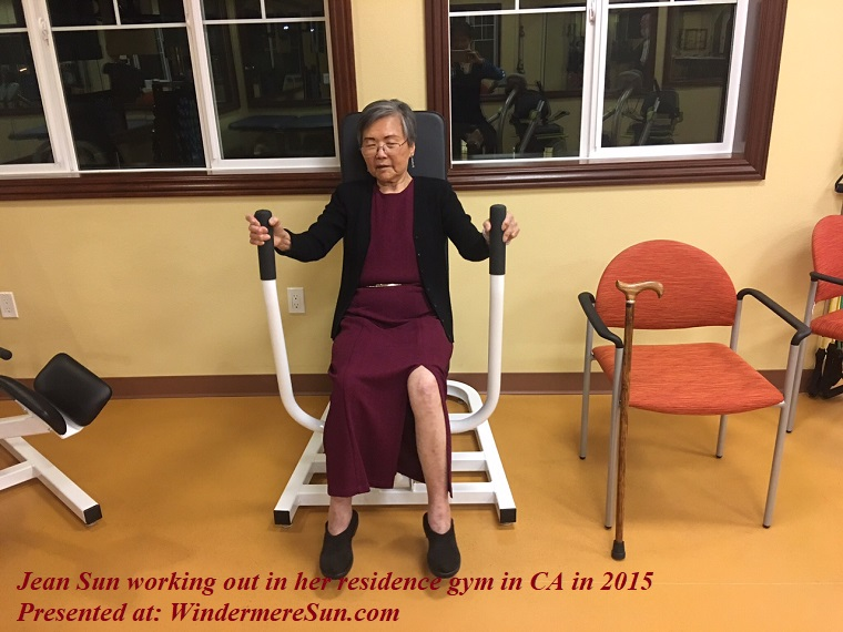 Jean Sun working out in her residence gym in CA in 2015 final