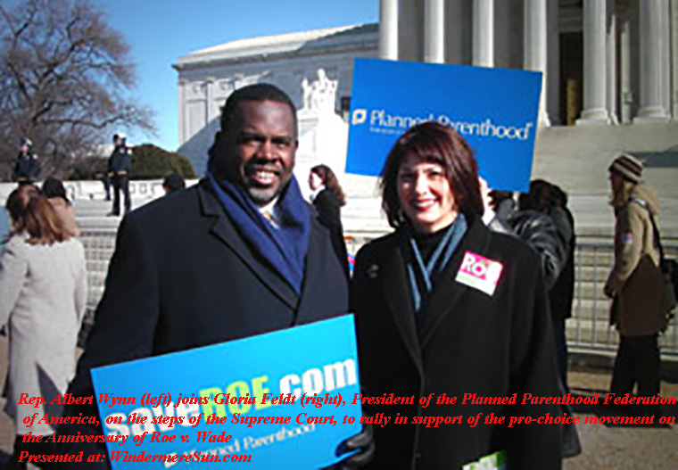 Rep. Albert Wynn joins Gloria Feldt, on the steps of the Supreme Court, to rally in support of the pro-choice movement on the Anniversary of Roe v. Wade final