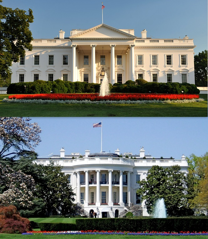 White_House_north_and_south_sides, attribution-top-Cezary p, bottom-Matt Wade final