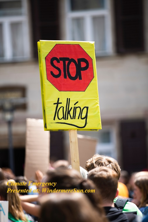 climate emergency, stop talking, activist-adult-blurred-background-2372440 final