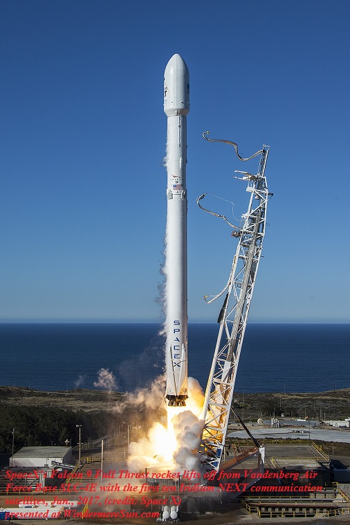 SpaceXs Falcon 9 Full Thrust rocket lifts off from Vandenberg Air Force Base SLC-4E with the first ten Iridium NEXT communication satellites, Jan. 2017, final