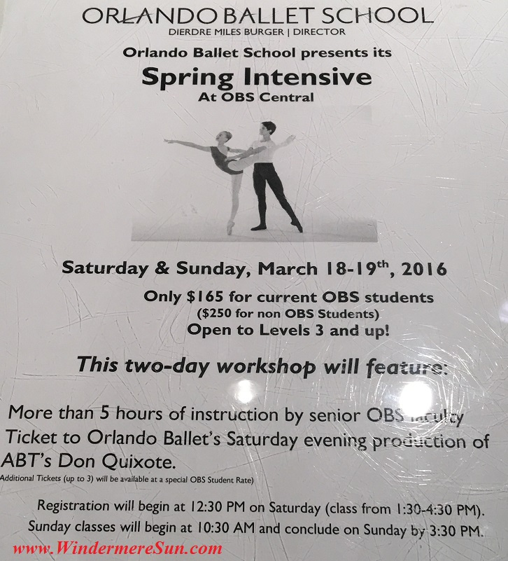 Orlando Ballet School Spring Intensive poster at Central Campus temporary at 415 East Princeton St., Orlando, FL final