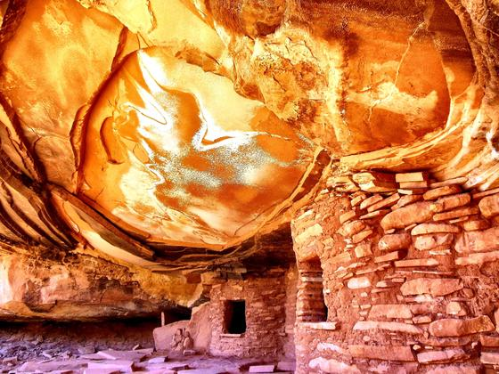 National Parks-by David Regala-Cedar Mesa-refracted sunlight funnels into this Anasazi alcove conjuring an ephemeral glow