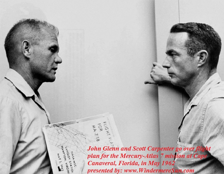 John Glenn and Scott Carpenter go over the flight plan for the Mercury-Atlas 7 mission at Cape Canaveral, Florida in May 1962 final.