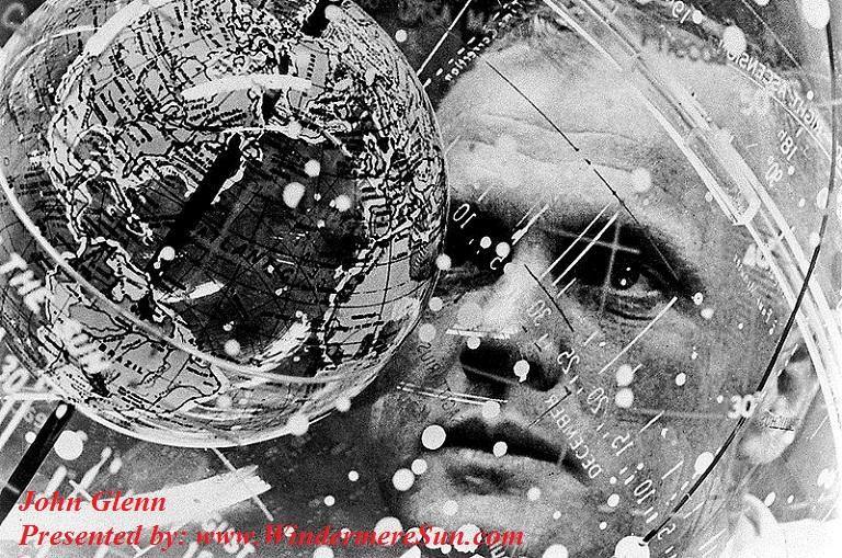John Glenn looks into a celestial training device in preparation for his Mercury Atlas orbital launch in Feb., 1962 final