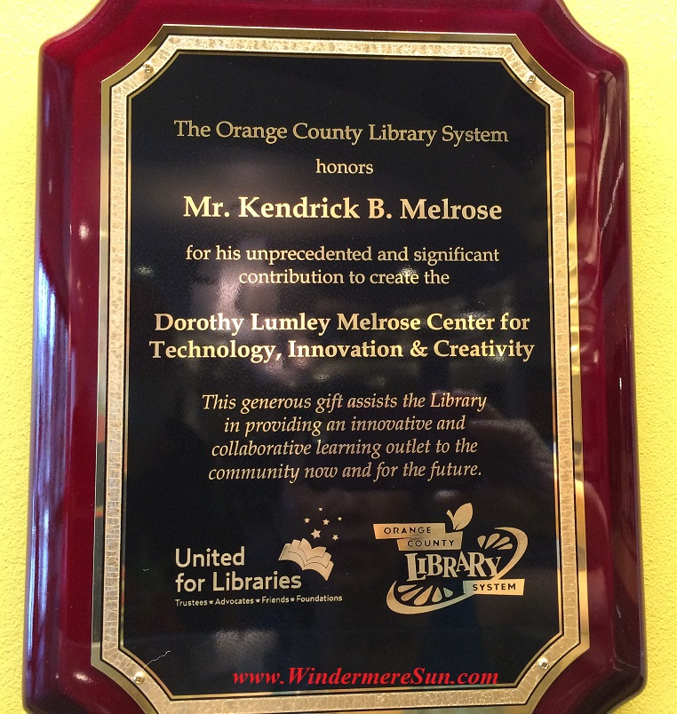 Kendrick B. Melrose plaque final