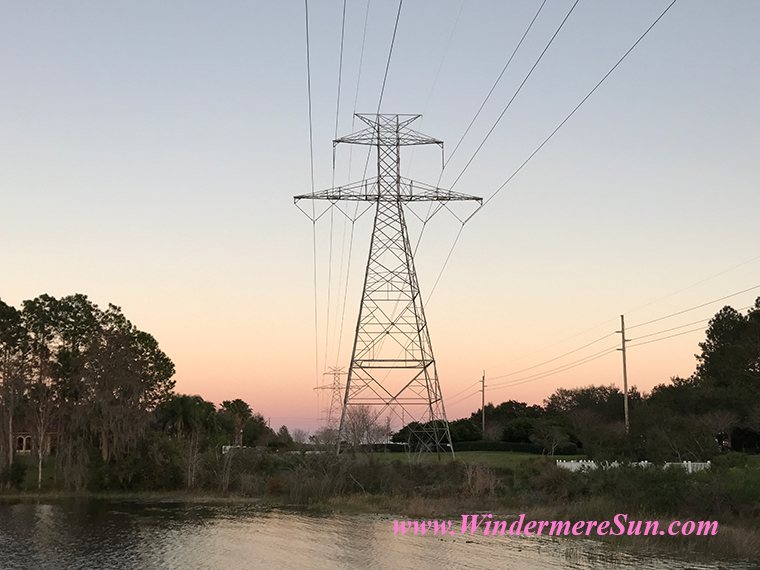 Pink Sunset with powerline tower 2