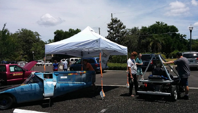 Larry Wexler's solar car at Casselberry Earth Day Fest final
