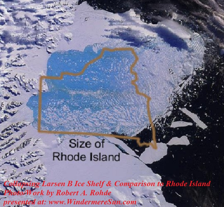 An image of the collapsing Larsen B Ice Shelf and a comparison of this to the U.S. state of Rhode Island, photoAuthor Robert A. Rohde final