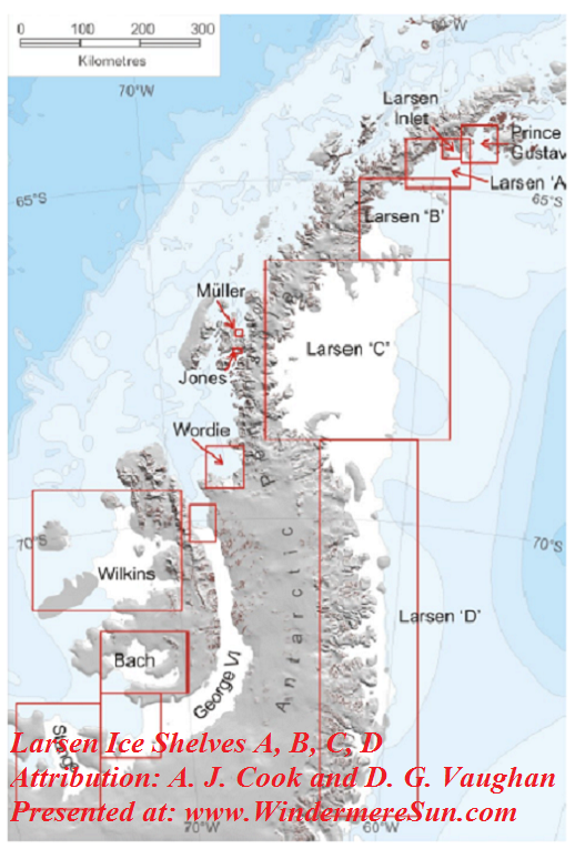 Larsen Ice Shelves A, B, C, D,Antarctic-Peninsula-Ice-Shelves, Attribution- A. J. Cook and D. G. Vaughan final