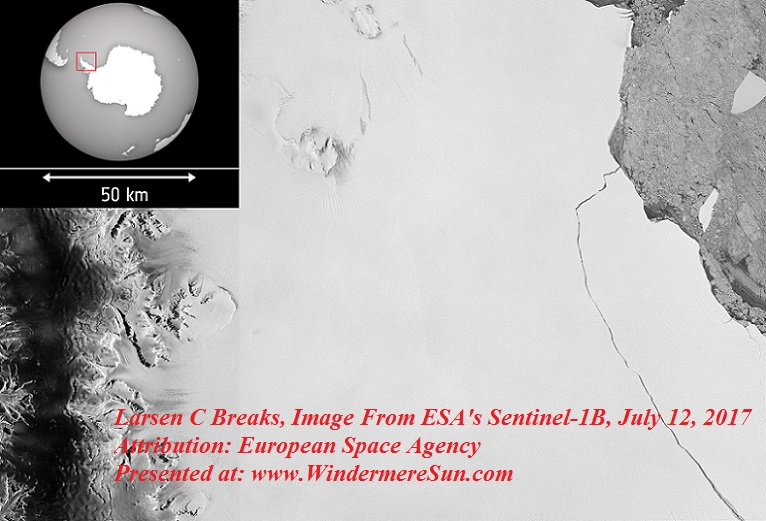 Larsen_C_breaks, Photographic imagery from ESA's Sentinel-1B taken on 12 July 2017, showing the complete break, Author European Space Agency final