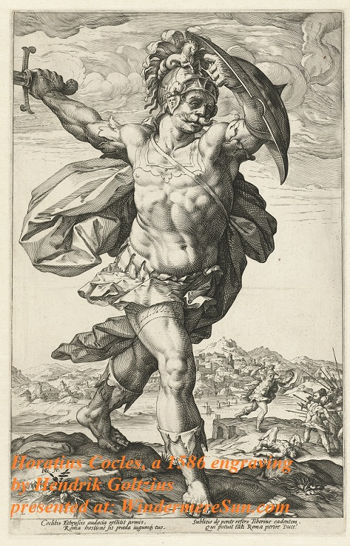 Horatius_Cocles, Horatius Cocles (from the series The Roman Heroes)., by Hendrik Goltzius final