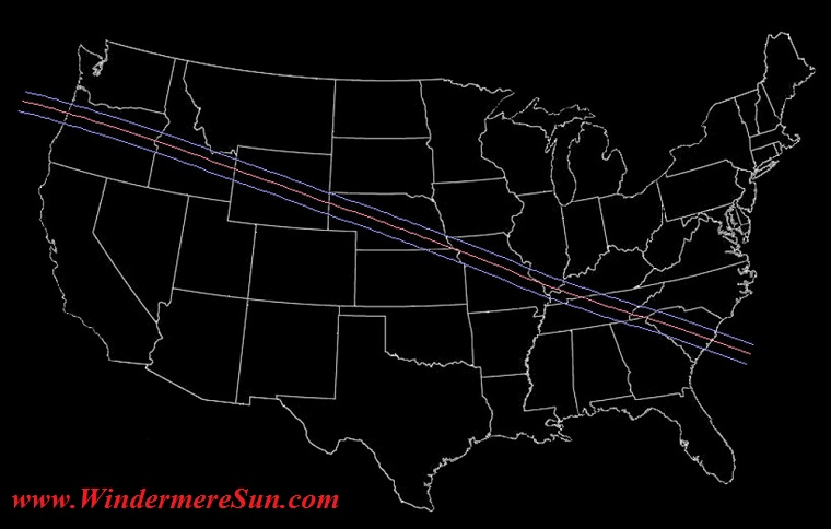 Solar Eclipse path through USA on Aug 2017 final