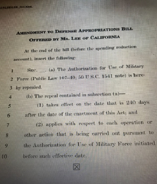 Amendment To Defense Appropriations Bill Offered By Dem Rep. Barbara Lee of CA final