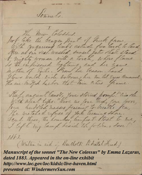 New_Colossus_manuscript_Lazarus, by Emma Lazarus, Manuscript of the sonnet The New Colossus by Emma Lazarus, dated 1883 final.