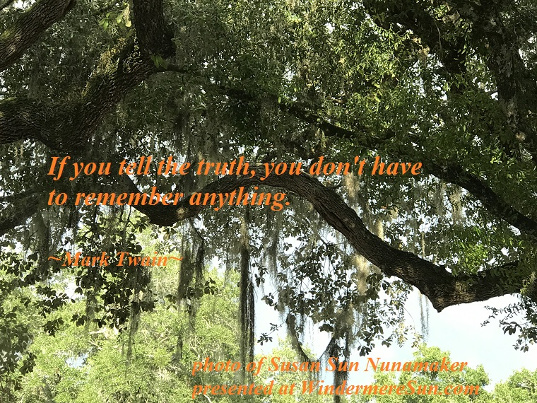 Quote-11-18-2017-If you tell the truth, Mark Twain, SusanSunNunamaker final